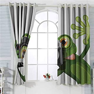 Animal Decor Black out Curtains for Bedroom Photographer Merry Green Frog Taking A Picture With His Camera Cute Funny Artful Print Home Decor Sliding Door Curtains W72 x L107 Inch Kelly Green White