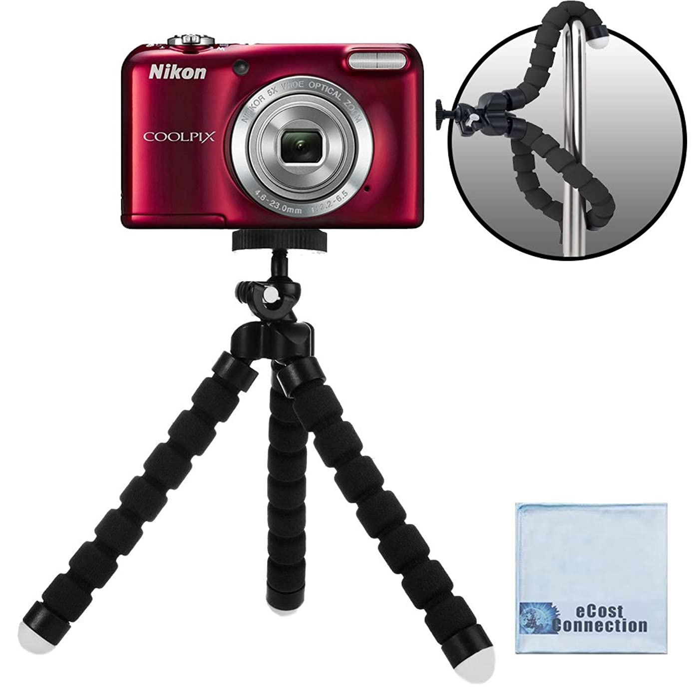 """Acuvar 6.5"""" inch Bendable Tripod for Small Digital Cameras with eCostConnection Microfiber Cloth"""