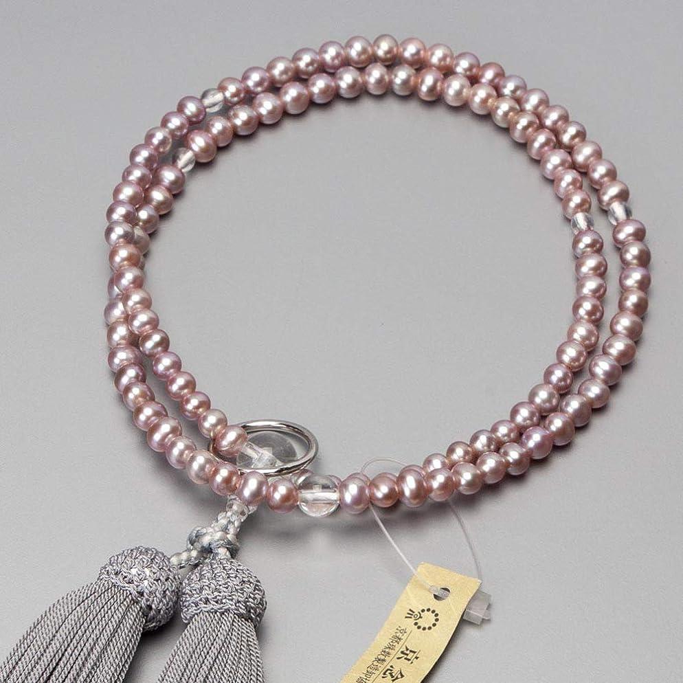 手数料提唱する不適切な数珠 曹洞宗仕様 女性用 淡水真珠(ピンク)本水晶仕立 銀輪入 正絹グレー房