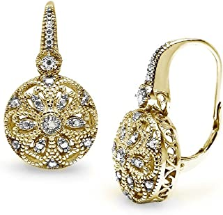 Yellow Gold Flashed Sterling Silver Round Filigree Diamond Accent Leverback Drop Earrings, IJ-I3