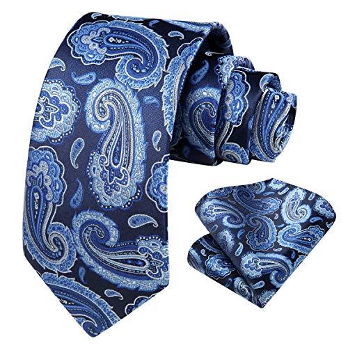 HISDERN Conjunto de corbata y bolsillo con pañuelo de boda