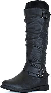 Womens Warm Sweater Knit Pull On Chunky Heel Knee High Boot