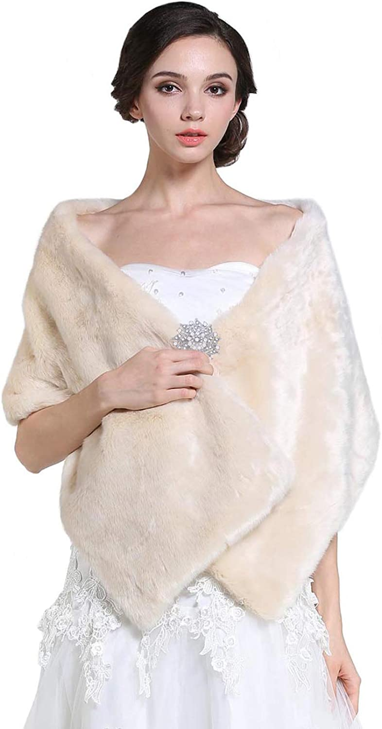 Barogirl Women's Wedding Faux Fur Shawls and Wraps with Brooch Fur Stole Bridal Fur Shrug for Women