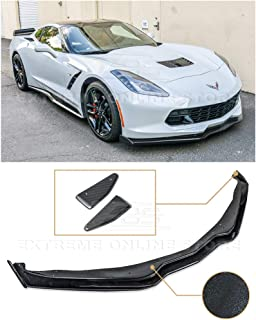 for 2014-2019 Chevrolet Corvette C7 | Z06 Stage 2 Style ABS Plastic Painted Carbon Flash Front Bumper Lower Lip Splitter with Carbon Fiber Side End Cap Extensions Pair
