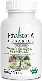 Nova Scotia Organics MENA & Meno Balance Formula (60 Caplets); Organic; Vegan; Vegetarian, Non-GMO; a Carefully Balanced Recipe of Plant sourced Solutions for mild Mood Changes, Cramps and Edema.