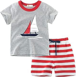 Little Hand Toddler Boys Pajama Dinosaur 100% Cotton Short Sets Pajamas for Boy Truck Pjs Summer Clothes Size 2-7 T