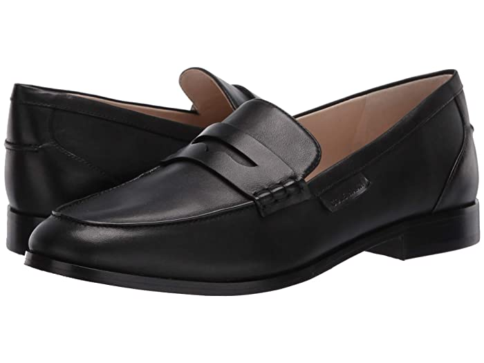 Cole Haan  Mckenna Penny Loafer (Black Burnished Leather Tonal Stitch/Black) Womens Slip on  Shoes