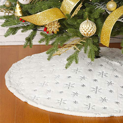 Christmas Sequin Tree Skirt 36in,White Soft Thick with Silver Snowflakes Decorations for 5FT 6FT 7FT Xmas Tree