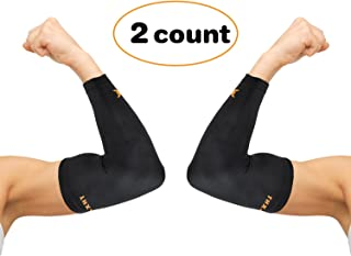 Thx4 Copper Elbow Compression Sleeve(1 Pair) - #1 Copper Infused Support –Guaranteed Recovery Copper Elbow Brace-Idea for Workouts, Sports, Golfers, Tennis Elbow, Arthritis, Tendonitis-Medium…