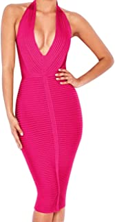 Women 's Sexy Halter Deep V Neck Club Party Bandage Dress