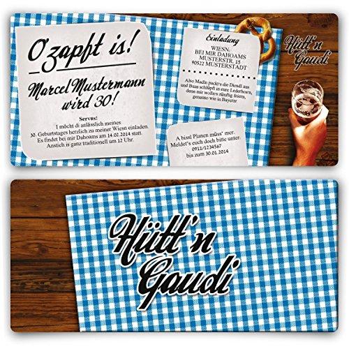 Einladungskarten zum Geburtstag (20 Stück) Hütt'n Gaudi Frühschoppen O'zapft is! Oktoberfest in Blau