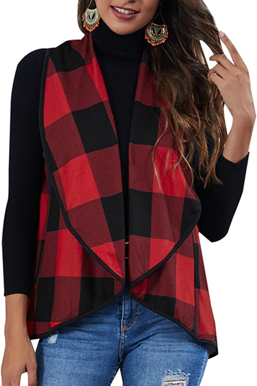 Lu's Chic Women's Sleeveless Tops Soft Cardigan Plaid Vest Open Front Coat Winter Warm Lapel