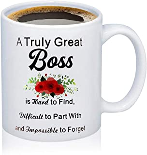 TGBJE Boss Appreciation Gift A Truly Great Boss Is Hard To Find,Difficult To Part With And Impossible To Forget Coffee Mug Boss Retirement Gift (Boss mug)