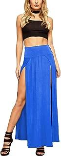 Women's Sexy High Waisted Double Slits Open Knit Long Maxi Skirt