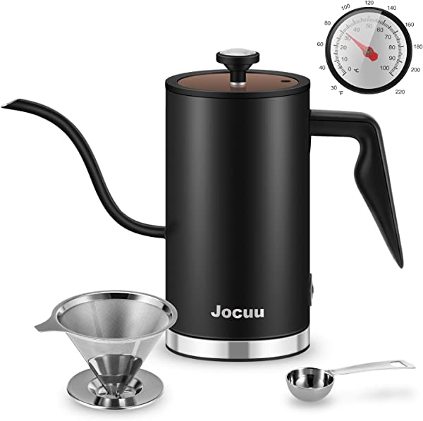 Jocuu Gooseneck Electric Hot Water Kettle Drip Kettle 500 Millilitre 304 Stainless Steel With Thermometer And Status Indicator For Making Tea Pour Over Coffee And Boiling Water