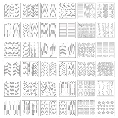 1275 Piezas 49 Diseños de Plantillas de Arte de Uñas Pegatinas de Vinilo de Guía de Punta Francesa, 36 Hojas