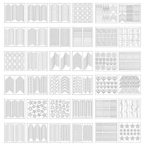 1275 Stück 49 Designs Nail Art Schablonen Französisch Tip Guides Aufkleber Form Fringe Guides Vinyl, 36 Blatt