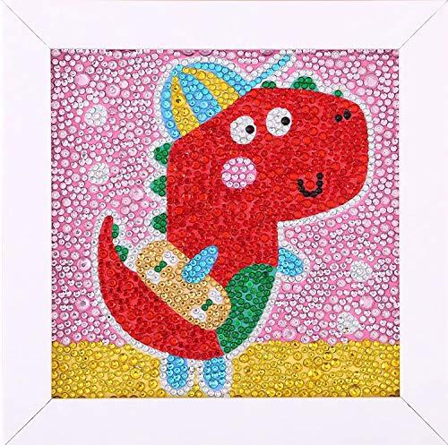 Easy 5D Diamond Painting Kit for Kids DiamondArtKits Easy Diamond Dotz for Beginner with White Frame for Kids (Swimming Dinosaurs) 6X6 inch