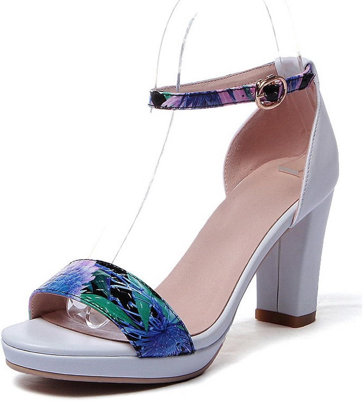 AmoonyFashion Women's Open Toe High Heels Assorted color Buckle Sandals