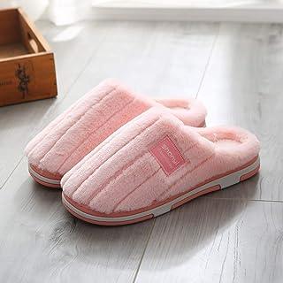 Zapatillas De Casa para Mujer,Invierno Zapatillas De Algodón Antideslizante Banda Simple Moda Artificial Rosado Suave Caliente Zapatillas De Felpa Inferior para Interiores Dormitorio Mute Home Zapato