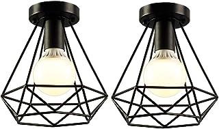 iDEGU 2 Pack Plafonniers Industrielles 20cm Métal Cage Noir Vintage Suspension Luminaire Rétro Lampe de Plafond E27 Lumina...