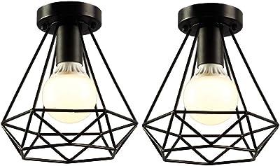 iDEGU 2 Pack Plafonniers Industrielles 20cm Métal Cage Noir Vintage Suspension Luminaire Rétro Lampe de Plafond E27 Luminaire d'eclairage pour Salon Chambre Café Bar Restaurent - Forme Diamant