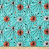 Michael Miller Mid-Century Modern Atomic Turquoise Quilt Fabric By The Yard, Turquoise