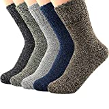 Zando Athletic Sports Knit Pattern Womens Winter Socks Crew Cut Cashmere Retro Thick Warm Soft Wool Socks 5 Pack - Vintage Mixed Shoe Size 6-11