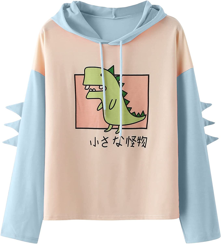 Women Cute Hoodies Crewneck Colorblock Dinosaur Kawaii Oversized Long Sleeve Sweatshirts Tops Pullover