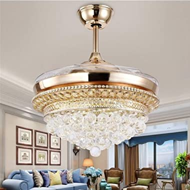 42-Inch Crystal Invisible Ceiling Fan with Light, LED Chandelier with Remote Control Retractable Blade Adjustable Tri-color a