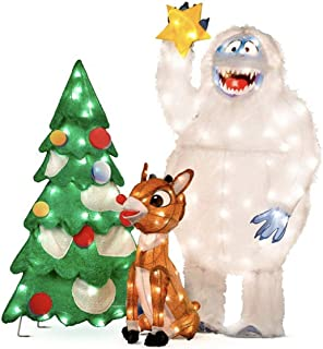 Animated Rudolph and Bumble Decorating Tree Outdoor Christmas Decorations - Set of 3