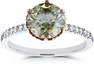 Mixed Fancy Champagne Brown and White Diamond Two Tone Ring 2 1/3ct CTW 18k Gold (Certified)