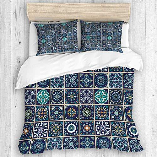 Zozun Funda nórdica, Juego de Azulejos portugueses, azulejo, Talavera, Juego de Funda nórdica con patrón marroquí, 2 Fundas de Almohada, Juego de Cama de Tacto Suave y Relajado