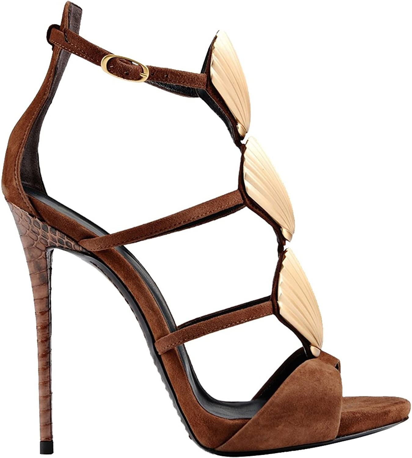 TDA Women's Fashion Shells Platform Suede Evening Party Dress Sexy Stiletto Sandals
