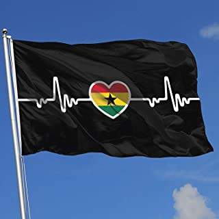 YTGQ4PT Ghana Flag Heartbeat Line Heart-1 Super Polyester Flag 3x5 F Banner with Grommets