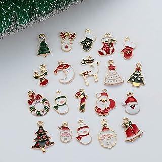 WSJTT 20Pcs/Set New Christmas Charms Pendants Enamel Bracelet Party Home Metal Craft Decoration Tree Hanging DIY Jewelry A...