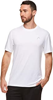 HEAD Men's Hypertek Crewneck Gym Tennis & Workout T-Shirt - Short Sleeve Activewear Top - Score Stark White, Medium