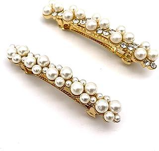 CAREOR, Fermaglio per capelli in lega con perle artificiali, ideale come regalo di compleanno e San Valentino, alla moda, ...