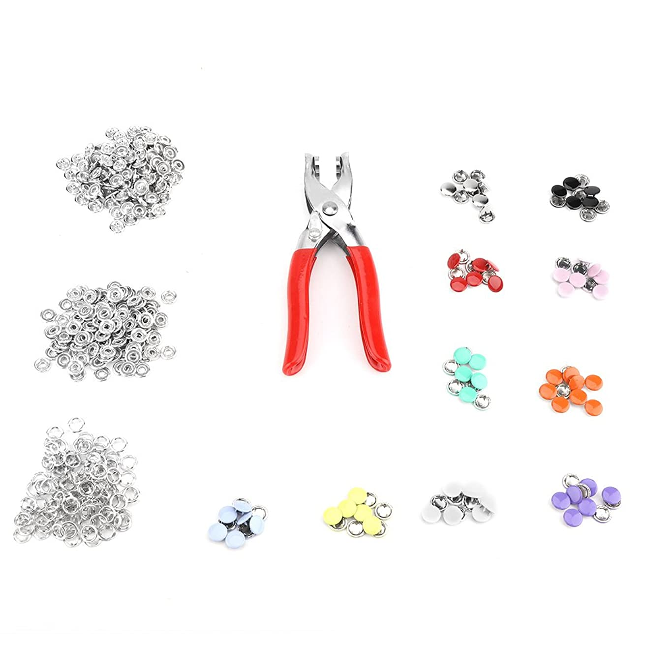 100 Sets Snap Fasteners Craft Pliers Tool,Metal Ring Button Press Studs Sewing Craft Fastener Snap Hand Pliers Craft Tool 9.5mm, 10 Colors