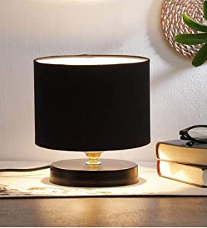tu casa Ntu-219 Black Cotton Shade Table lamp with Metal Base by tu casa Holder type-b-22 (Bulb not Included)