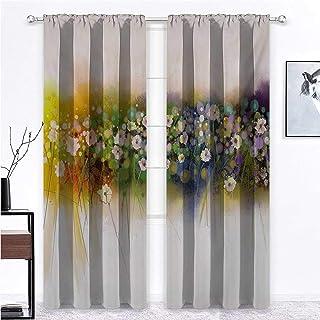 Nomorer Long Curtains Flower for Living/Bedroom Room Patio Door Vogue Display Wisteria Violets Wreath Fragrant Plants Herb...