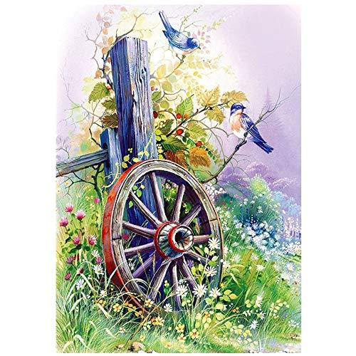 Gcomxj Pintura de Diamante 5D de Bricolaje Flor de pájaro Redonda Lienzo preimpreso Imagen de Mosaico de Diamantes de imitación sin Marco 50x 60cm