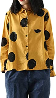 Cofouen Women's Casual Cotton Linen Button Down Shirt Loose A-line Hem Tops Blouses Short Sleeve with Pocket