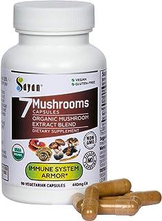 Sayan 7 Mushroom Extract Capsules - Immune Défense, Energy, Brain Health Function Support Complex - Organic Chaga, Reishi,...