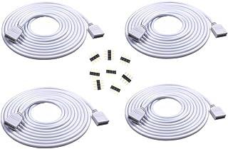 4PCS 2M 6.56ft 4 Color RGB Extension Cable LED Strip Connector Extension Cable Cord Wire 4 Pin LED Connector for SMD 5050 ...