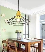 HN Lighting Chandelier European Minimalist Wood Dining Room Bedroom Wrought Iron Mesh Pendant Light Study Living Room Clot...