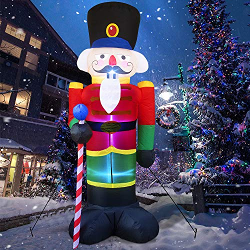 8 Foot Christmas Inflatable Nutcracker Soldier Outdoor Decorations, Light Up Inflatable Santa Claus Soldier with 3 LED Lights Blow Up Decorations for Yard Lawn Garden Xmas Decor (6 Stakes 4 Tethers)