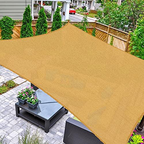 AsterOutdoor Sun Shade Sail Rectangle 16' x 16' UV Block Canopy for Patio Backyard Lawn Garden Outdoor Activities, Sand