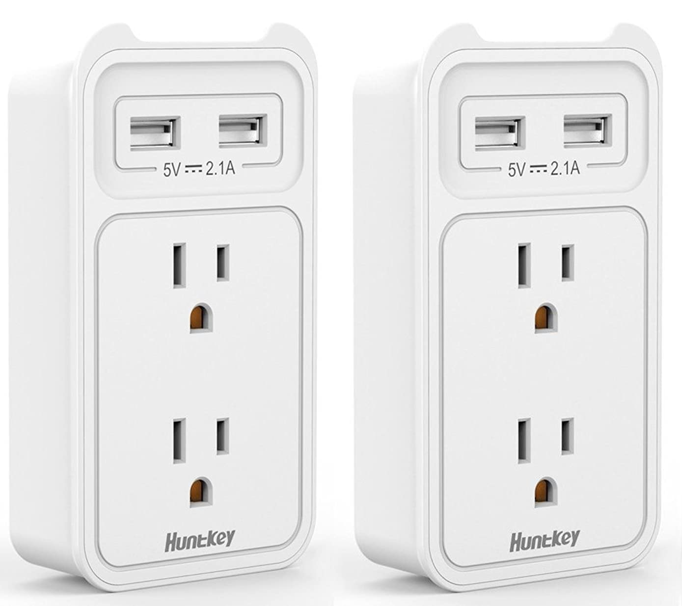 Huntkey 2-Outlet Wall Mount Cradle with Dual 2.1 AMP USB Charging Ports, SMD407 (White / 2 pack)