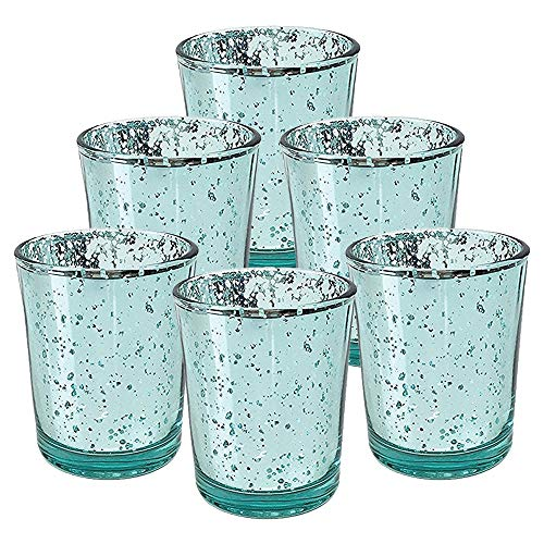 Just Artifacts Mercury Glass Votive Candle Holder 2.75-Inch Speckled Aqua (Set of 6) - Mercury Glass Votive Candle Holders for Weddings and Home Décor